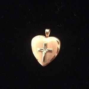 14k gold heart locket with cross